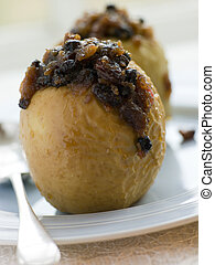 Baked Apples stuffed with Christmas Pudding