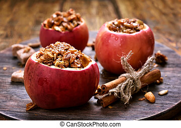 Baked apples stuffed with granola - Fruit dessert baked...