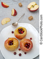Baked apples with berries.