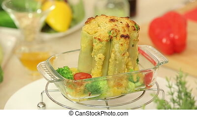 Baked cannelloni stuffed with vegetable mix - Presentation...