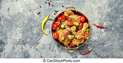 Baked chicken in vegetables