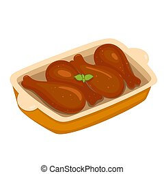 Baked chicken legs isolate on a white background. Vector ...
