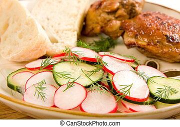 Baked Chicken Salad and Bread