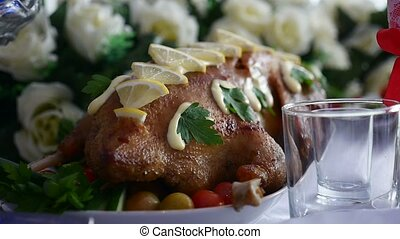 baked chicken with lemon delicious dinner in a restaurant Video Art