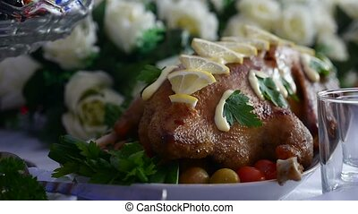 baked chicken with lemon delicious dinner in restaurant video art