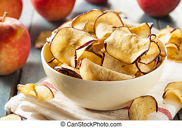 Baked Dehydrated Apples Chips in a Bowl