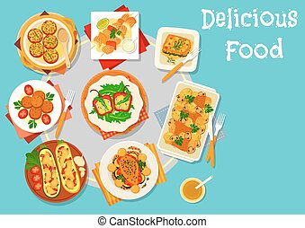 Baked dishes for healthy lunch icon