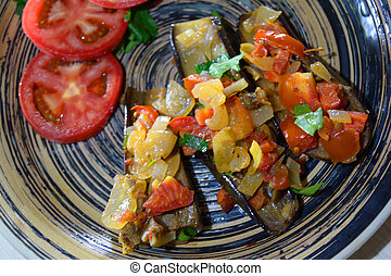 baked eggplant with vegetable filling