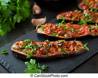 Baked eggplant with vegetables - Baked eggplant with...