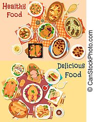 Baked fish and meat dishes icon set