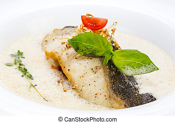 baked fish fillets - Roasted fillet of grilled fish in a...