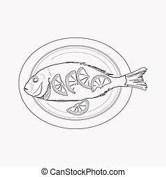 Baked fish icon line element. Vector illustration of baked fish icon line isolated on clean background for your web mobile app logo design.