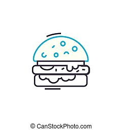 Baked fish linear icon concept. Baked fish line vector sign, symbol, illustration.
