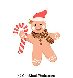 Baked Gingerbread Man in Scarf Holding Candy Cane Vector Illustration