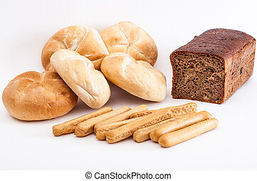 Baked goods - A couple of buns, breadsticks and dark bread.