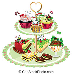 Baked goods arranged in the tray - Illustration of the baked...