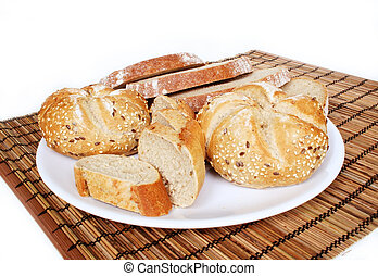 Baked goods - healthy breakfast on white background