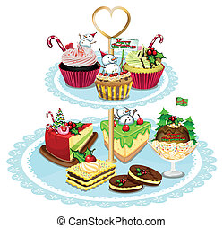 Baked goods - Illustration of the baked goods on a white...