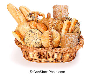 Baked goods - Fresh bakery products in wicker basket on...