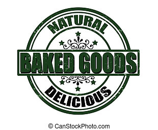 Baked goods - Stamp with text baked goods inside, vector...