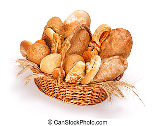 Baked goods - Fresh baked bread and pastry in basket on...