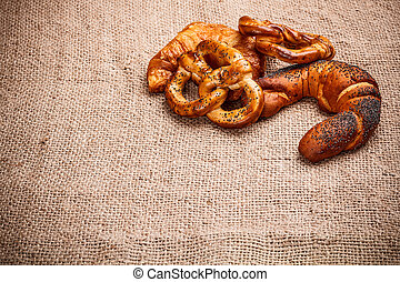 Baked goods on burlap tablecloth