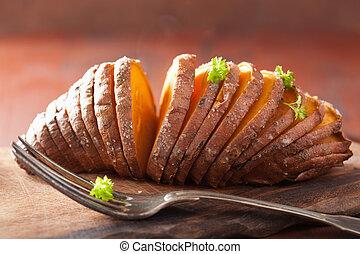 Baked hasselback potato