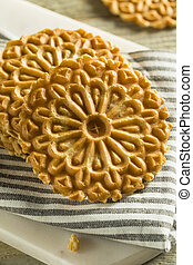 Baked Homemade Crispy Pizzelles in a Stack