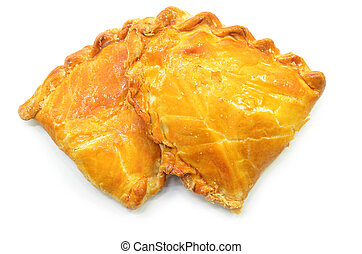 Baked kaya puff pastry isolated on a white background
