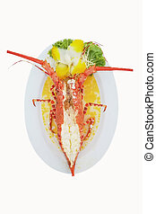 Baked Lobster isolated white background