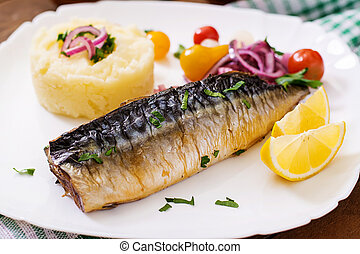Baked mackerel with herbs and garnished with mashed potatoes...