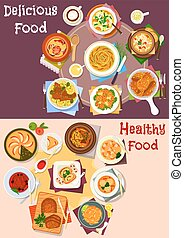 Baked meat and veggies dish with dessert icon set