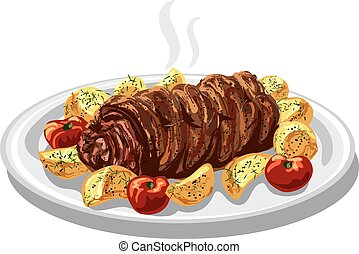 baked meat roulade