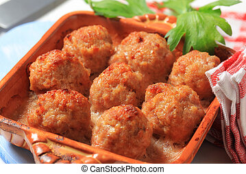 Baked meatballs  - Balls of minced meat baked with cheese