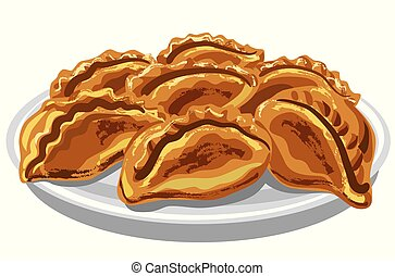 illustration of the pirogies pasties on the plate