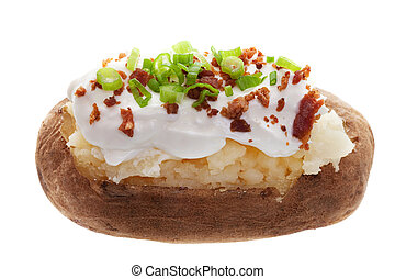 A baked potato with sour cream, bacon bits, and Green onions