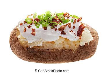 Baked potato - A baked potato with sour cream, bacon bits, ...