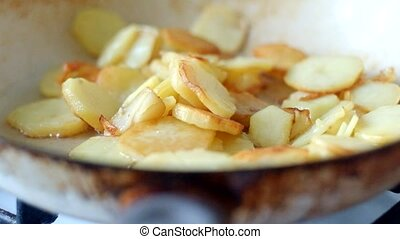 Baked potato on pan macro
