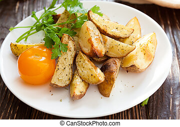 Baked potato wedges in the oven