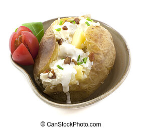 Baked Potato with cream, butter and bacon. Side Dishes.