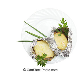 baked potatoes on a white background