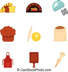 Baked products icons set, flat style