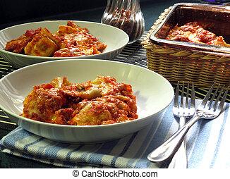 Baked Ravioli - Ravioli, baked with sauce and cheese, hot...