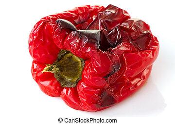 baked red pepper on white background