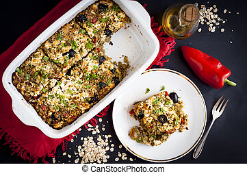 baked rolled oats with courgette