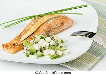 Baked Salmon Fillet. Homemade Salsa Made Of Kiwi, Pears, Chives