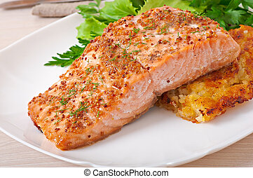 Baked salmon with honey-mustard sauce and potato gratin