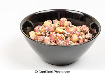 Baked saulty peanuts served in the bowl