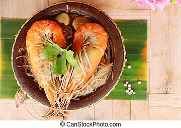 Baked shrimp with glass noodles is delicious