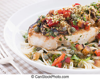 Baked Sicilian Swordfish with Linguine